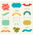 Set of romantic arrows ribbons and labels in retro vector