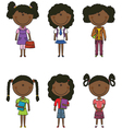 African-american school girls vector