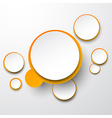 Paper white-orange round speech bubbles vector