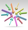Abstract centered colorful arrows vector