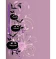 Violet halloween background with pumpkin and bat vector