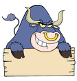 Purple bull looking over a blank wood sign vector
