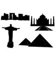 World landmarks silhouettes vector