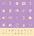 Time related color icons on violet background vector