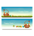 Two happy easter banners with easter eggs in a vector