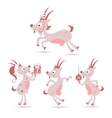 Set of cute christmas goats vector