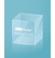 Abstract light blue background with glass cube vector