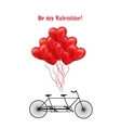 Bicycle and heart balloons background vector