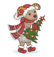 New year ram with christmas tree vector