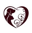 Cat dog love heart logo vector