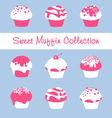 Sweet muffin collection vector