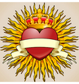 Crowned heart with banner and rays vector