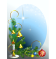 Corner the christmas tree vector