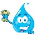 Water drop holding money over a sign vector