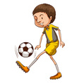 A coloured sketch of a boy playing soccer vector
