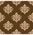 Beige colored on brown floral arabesque seamless vector