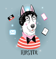Portrait of a wolf hipster vector