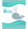 Animal alphabet whale with a colored background vector