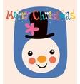 Merry christmas snowman greeting card vector
