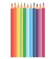 Multicolored rainbow pencils in a raw vector