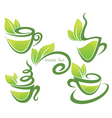 Green tea collection of forms symbols and vector