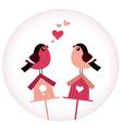 Cute birds in love sitting on birdhouses - retro vector