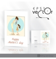 Little daughter gives mom a gift for mothers day vector