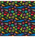 Sea animals background pattern flat style vector