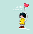 Girl with heart balloon vector