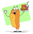 Hot dog holding fast food fast food on a tray vector