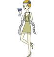 Flapper girl drinking martini vector