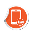 Phone camera icon orange sticker vector
