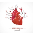 Love background with heart and flowers valentines vector