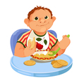 Baby eating porridge vector