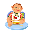Child eating breakfast vector
