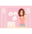 Online shopping - young smiling woman standing vector
