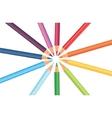 Multicolored rainbow pencils in a circle vector