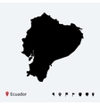 High detailed map of ecuador with navigation pins vector