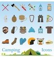 Mountain hiking and climbing icon set vector