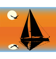 Silhouette of a yacht on the background of the set vector