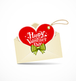 Envelope red heart and green ribbon valentine day vector