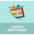 Happy birthday retro blue card template vector