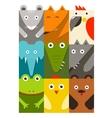 Flat childish rectangular animals set vector