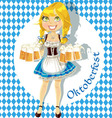 Pretty blond with a glass of beer vector