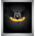 Glossy shield emblem on black background vector