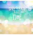 Summer travel time poster on tropical beach backgr vector