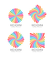 Set of colorful bright rainbow spiral logo vector