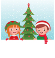 Christmas elf and santa claus and white banner vector