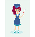 A little girl holding her diploma vector