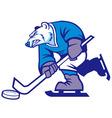 Ice hockey polar bear mascot vector